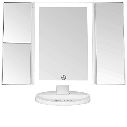 Lighted Makeup Mirror With Magnification | Vanity Mirror with Lights and Touch Screen Dimming - LED Trifold 1x 2x 3x Magnifying Mirrors - Small Portable Makeup Accessories | Make Up -