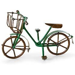 Garden Bicycle (Miniature Fairy Garden Accessories - Terrarium Figurines Green Bicycle - Mini Bike Outdoor Statue)