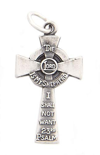 Silver The Lord is My Shepherd I Shall NOT Want 23RD Psalm Cross Charm/Pendant Jewelry Making Supply Pendant Bracelet DIY Crafting by Wholesale Charms ()