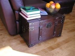 16 Pounds Gold Rush Medium Wooden Steamer Treasure Trunk (15.5 x 24.5 x 14.5 )