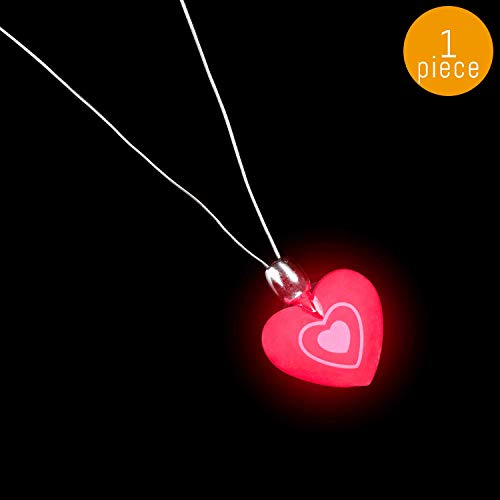 Lumistick Flashing Heart Necklace 14-inch | Valentine's Day Special Flashing Heart Shape Pendant | Ultra Bright Light Up Ball Party Fluorescent Locket | Luminous Dazzling Necklet (1 Necklace)]()