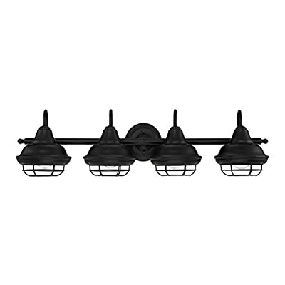 "Designers Impressions Charleston Matte Black 4 Light Wall Sconce/Bathroom Fixture: 10014 - Style Name: Charleston --- Light Style: Beach Finish: Matte Black ----- Glass: None Length: 33"" ----- Tall: 9-1/8"" ------ Projection: 9"" - bathroom-lights, bathroom-fixtures-hardware, bathroom - 310GW6DaiML. SS400  -"