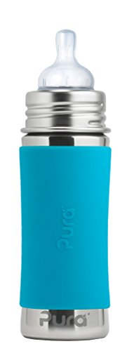 Pura Kiki 11 Oz / 325 Ml Stainless Steel Infant Bottle with Silicone Medium-Flow Nipple & Sleeve, Aqua (Plastic Free, Nontoxic Certified, Bpa Free)