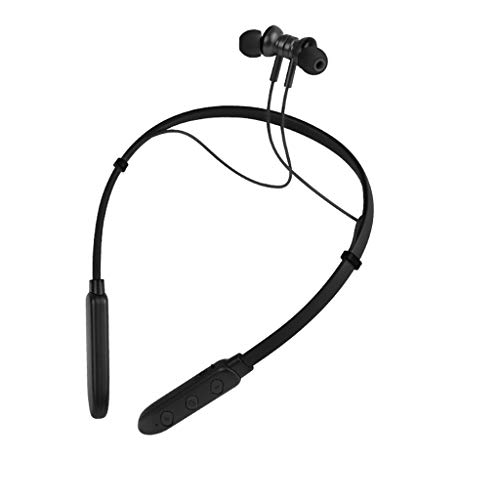 Fashion Neck-mounted Wireless headset Small Halter Bluetooth Sports Headphones Metal Ear Shell Junlai888 (Black)