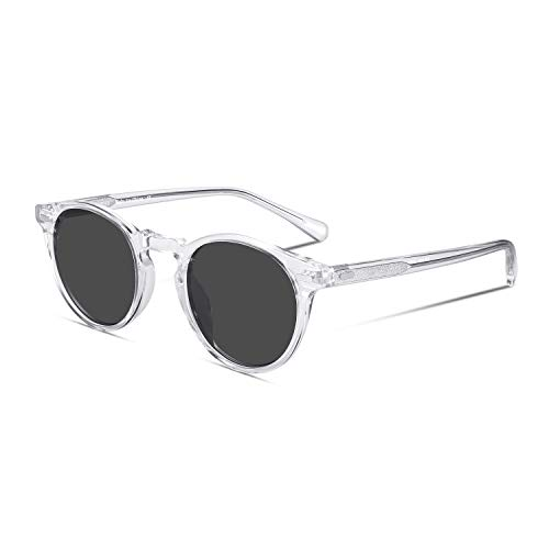- CANYEUX Vintage Round Polarized Sunglasses for Women and Men, 100% UV Protection (Transparent/Grey Lens)