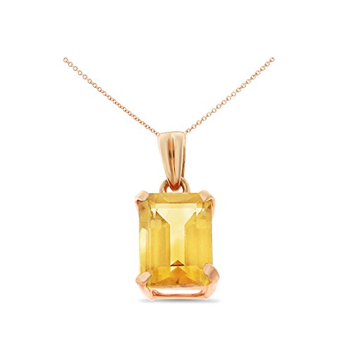 14K Rose Gold 6 x 8 mm. Emerald Cut Genuine Natural Citrine Pendant With Square Rolo Chain - Citrine Cut Pendant Emerald