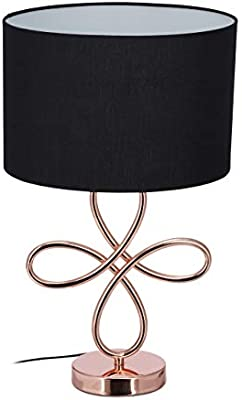 Relaxdays Lámpara de mesa, Diseño, Redonda, Pie de metal, E27 ...
