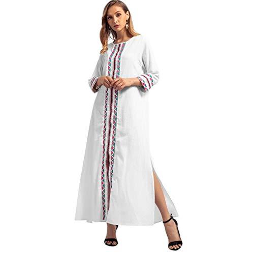 Muslim Islamic Clothing,Vanvler Women Kimono Middle East Muslim Robe Embroidery Long Dress Long Sleeve Gown (L, White) by Vanvler Kaftan Abaya