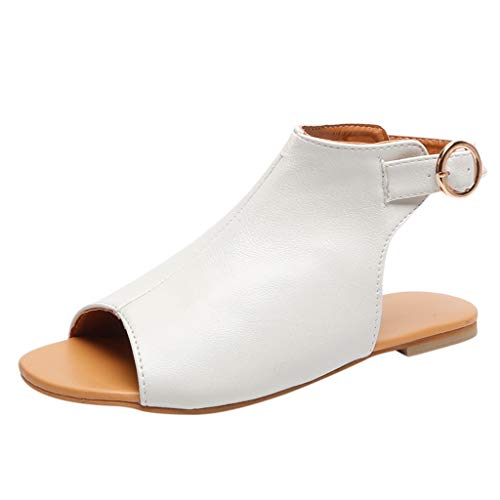 Nuewofally Ladies Sandals Summer Rome Peep Toe Flat Buckle Fish Mouth Casual Anti-Skid Open Toe Lightweight Comfortable Shoes White