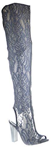 BAMBOO Spotlight 44S Womens Over The Knee Peep Toe Chunky Heel Dress Sandals Black Lace 9