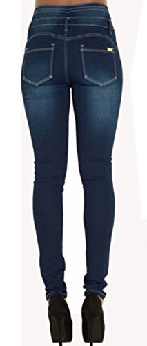 Mujer Azul Pantalón Botón Alta Jeans Sexy Denim Largo Skinny Moda con Vaqueros Pants Denim Cintura arqanx1wRB