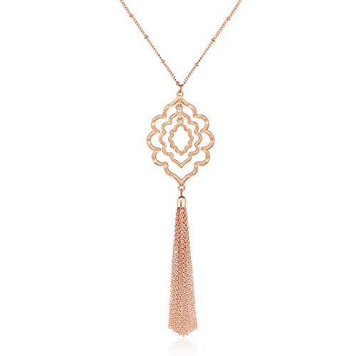 MOLOCH Long Necklaces for Woman Minimalist Geometric Circle Pendant Necklaces Bohemia Tassel Fringe Necklace Set Statement Pendant (Rose Gold)