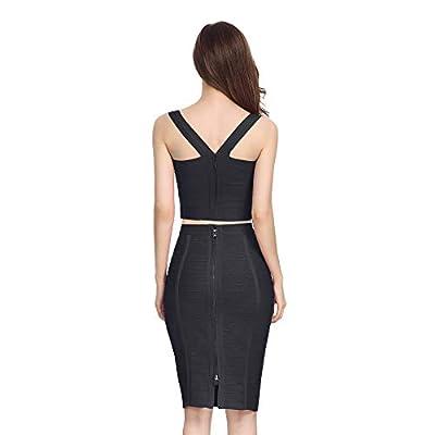 Nayssi Women's High Waist Knee Length Stripe Bandage Pencil Skirt at Women's Clothing store