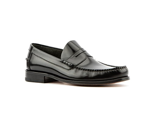 Men's LOAKE Princeton Polished Leather Moccasin Shoes in Black and Burgundy Black