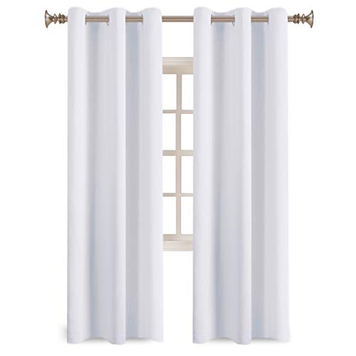 Pure White Grommet Curtains Themal Insulated Nursery & Infant Care Curtains Each Panel 42