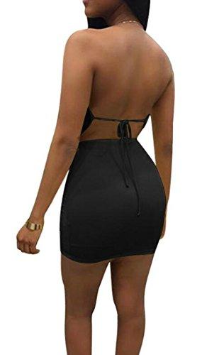 Tagliate Cromoncent Randello Halter Mini Abito Bodycon Increspato Womens Nero Backless x7qdw5p