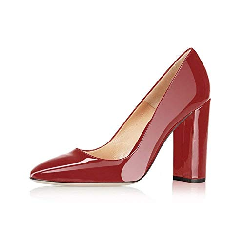(Fericzot Pumps Women Sexy Patent Leather Pointed Toe Block Heels Pumps Gorgeous Evening Party Wedding Stiletto Shoes Plus Size Red 9M)