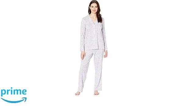 63b8837170f LAUREN RALPH LAUREN Women's Knit Notch Collar Pajama Set Multi Floral Print  Medium