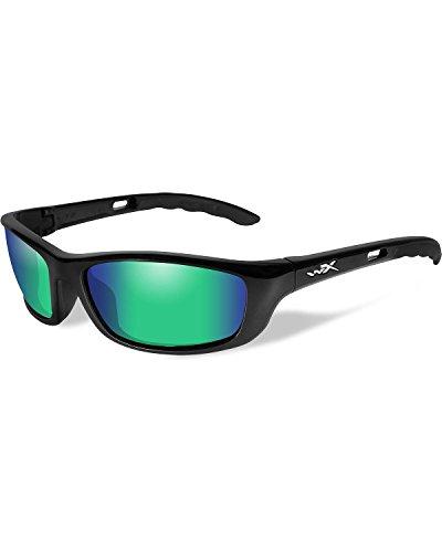 Wiley X Men's P-17 Polarized Emerald Gloss Sunglasses Black One - Wiley Sunglasses X Polarized