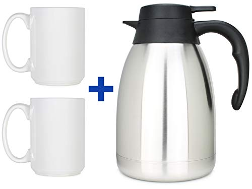 (MJT Gifts Stainless Steel Double Wall 50oz Thermal Coffee Carafe w/ Two 15oz Classic White Mugs)