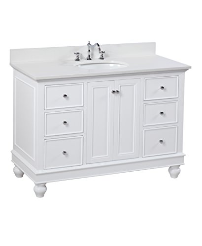 Bella 48-inch Bathroom Vanity (Quartz/White): Includes a White Cabinet, Quartz Countertop, Soft Close Drawers and Doors, and Ceramic (Ronbow Stone Counter)