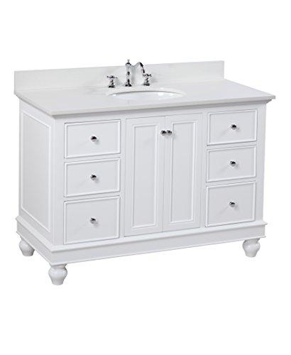 Bella 48-inch Bathroom Vanity (Quartz/White): Includes a White Cabinet, Quartz Countertop, Soft Close Drawers and Doors, and Ceramic ()