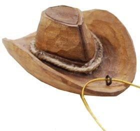 Western Hat Ornament (Hand-carved of Real Wood)]()
