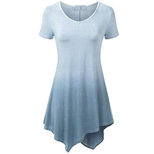 (Tantisy ♣↭♣ Women's Plus Size Irregular Dress Fashion Gradient Short Sleeve Casual Dress Gray)