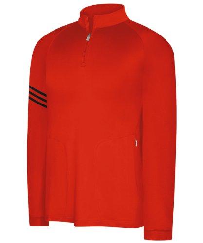adidas Men's climalite Warm 3-Stripes Half Zip Mock - Bam/Black - Small