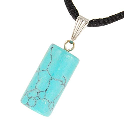 Steampunkers USA Core Elements - 20mm Column Pillar Round Block Chunk Turquoise Blue - 20-22 inch Black Cord - Crystal Gemstone Carved Necklace Charm Handmade