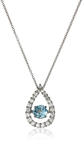Swiss Blue Topaz Created White Sapphire Pendant