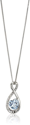 """sterling silver heart lab-created aquamarine pendant with diamond pendant necklace, 18"""""""