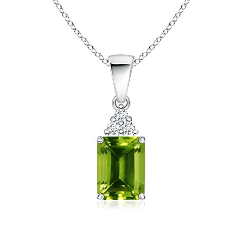 Emerald-Cut Peridot Pendant with Diamond Trio in 14K White Gold (8x6mm - Cut Emerald 14k Diamond Wg
