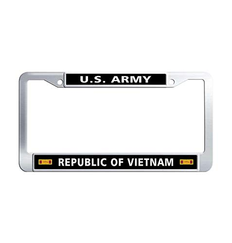 (Nuoyizo US Army Republic of Vietnam Gallantry Cross Unit Citation Ribbon Waterproof License Frame car Stainless Steel Metal License Frame car(1 pic, 12.25