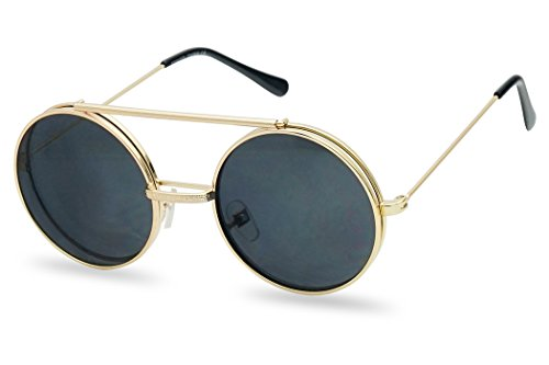 Round Circular Django Flip-Up Steampunk Inspired Metal Two in One Sunglasses (Gold | Smoke Lens, ()