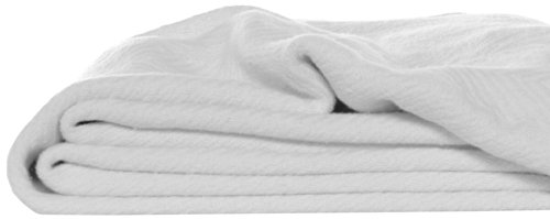 Eddie Bauer 200614 Herringbone Cotton Blanket, King, White