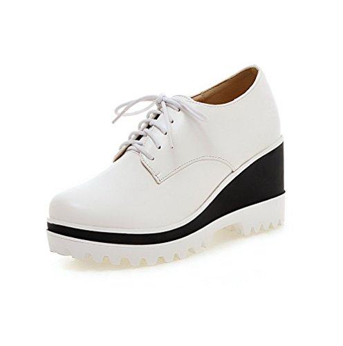 AllhqFashion Damen Rund Zehe Schnüren PU Leder Hoher Absatz Pumps Schuhe Weiß