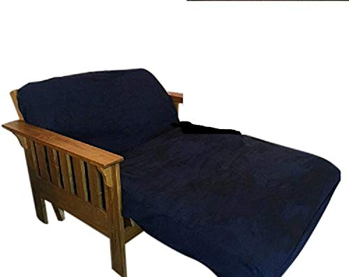 Twin Size Classic Micro Suede Elastic Backing Easy Fit Fitted Futon Mattress Daybed Sofa Bed Cover (Navy)