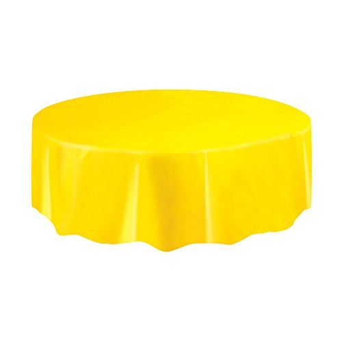 Round Yellow Plastic Tablecloth 84