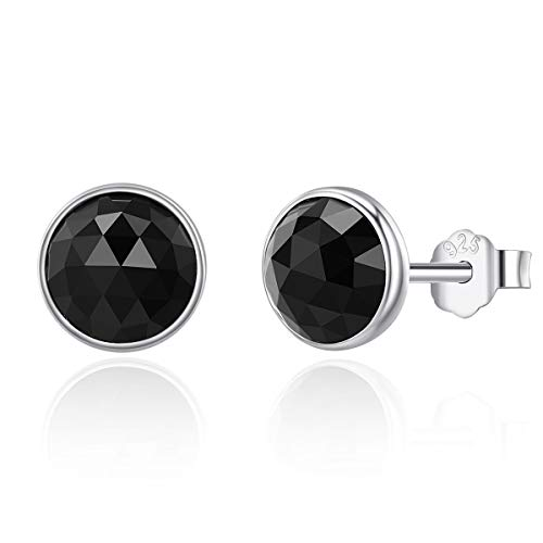 Presentski Black CZ Stud Earrings 925 Sterling Silver Round 6mm Onyx Hypoallergenic Piercing Earrings Studs for Women Men