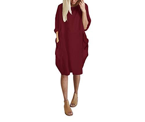 Autumn Womens Dresses Pocket Loose Dress Ladies Crew Neck Casual Long Girl Tops Dress,Wine,L (Sacramento K St)
