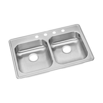 Elkay GE233224 Dayton Satin Kitchen Sink 4 Hole Drop In (Top Mount) by Elkay by Elkay