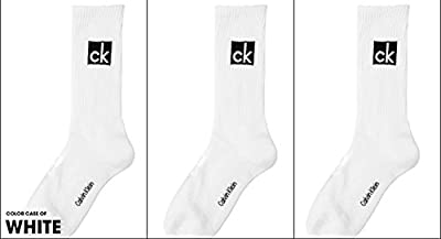 Calvin Klein Men's Scotty Big Logo Cushion Crew Socks - 3 Pack (White)