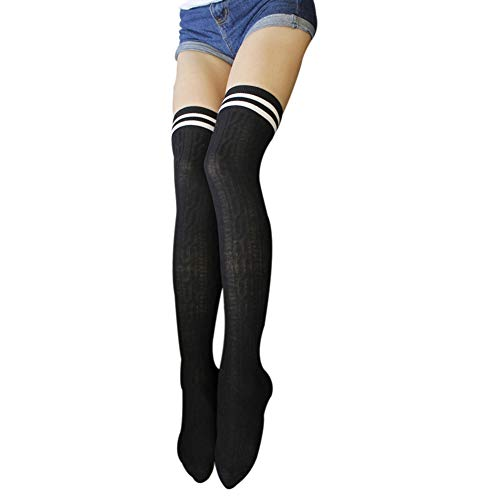 ChezAbbey Womens Stripe Over the Knee High Stockings Cosplay Socks Pantyhose, Black with Two-Stripe