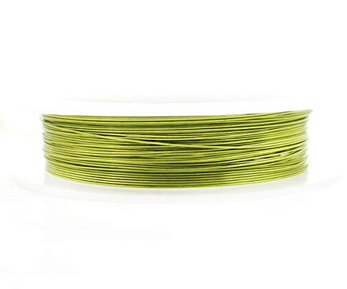 Bead Spoon Olive (9m 30ft 10yrd Olive Green Wrapped Artistic Aluminium Beading Artisan Craft Jewelry Wire Wrap On Spool Jewelry Cord Soft 0.4mm Gauge 26)