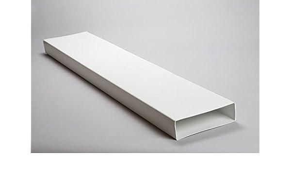 NaplesUK - Conducto rectangular plano de plástico blanco de 204 mm x 60 mm: Amazon.es: Bricolaje y herramientas