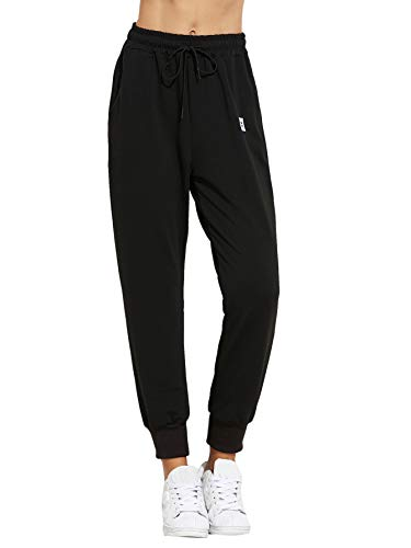 SweatyRocks Women's Sweatpants Yoga Workout Athletic Joggers Pants with Pockets (Medium, Solid Black)