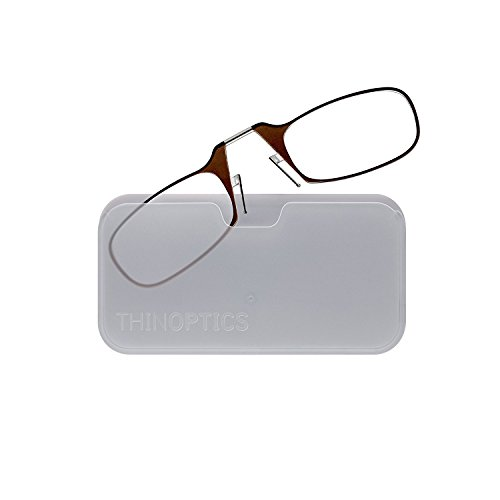 ThinOptics Reading Glasses + White Universal Pod Case | Classic Collection, Brown Frames, 2.50 Strength
