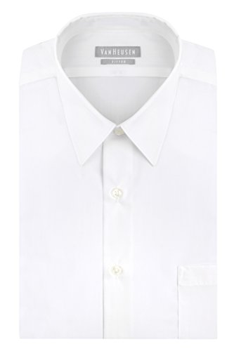 Van Heusen Men's Poplin Fitted Solid Point Collar Dress Shirt, White, 15.5