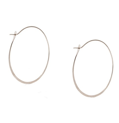 Melissa Joy Manning Sterling Silver Extra Large 1.75 Inch Hoop - Melissa Manning Earrings Joy Aquamarine